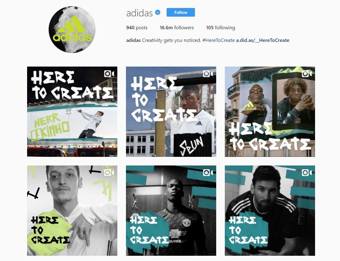 Instagram бренда Adidas