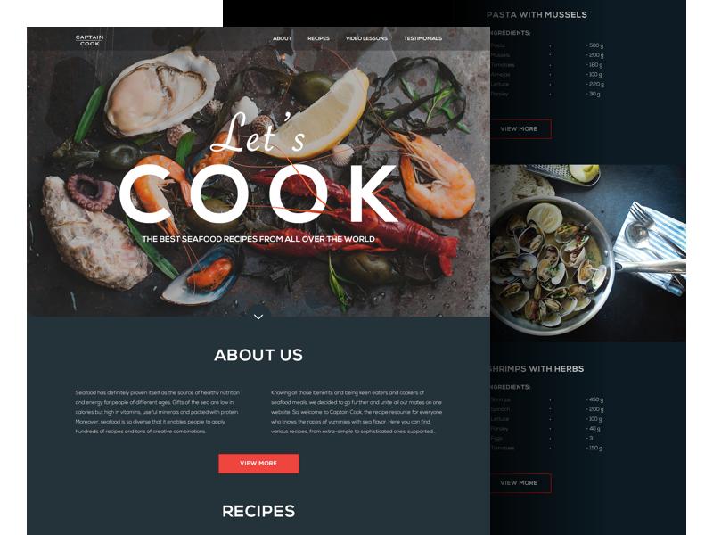 макет сайта ресторана
