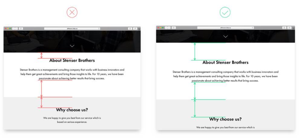 Неравномерные отступы между элементами на веб-странице.